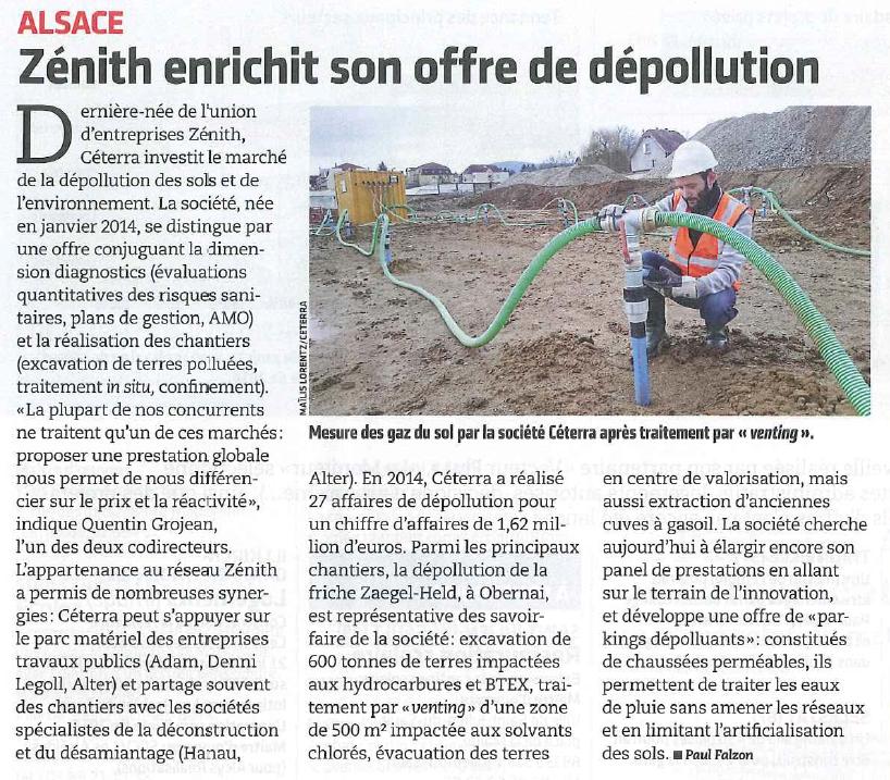 Article du Moniteur portant sur un chantier de gestion hors site de terres impactées par l'entreprise d'ingénierie environnementale Céterra en Alsace